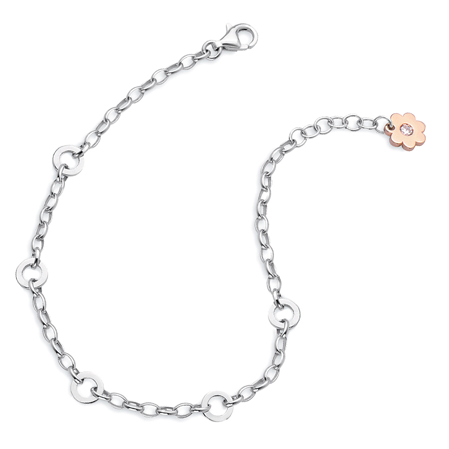 Sterling silver bracelet / 5 charm carrier, rhodium plated.