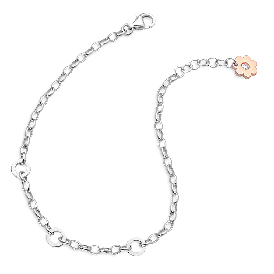 Sterling silver bracelet / 3 charm carrier, rhodium plated.
