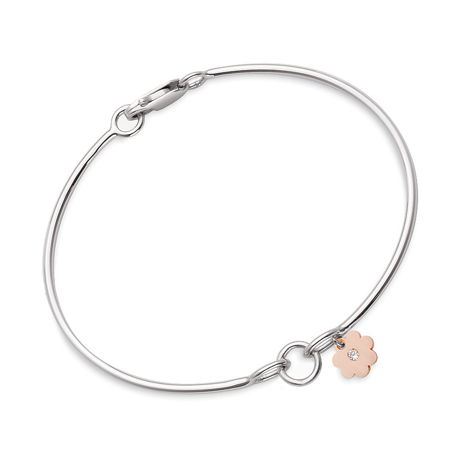 Sterling silver bangle with 1 charm add-on, rhodium plated.