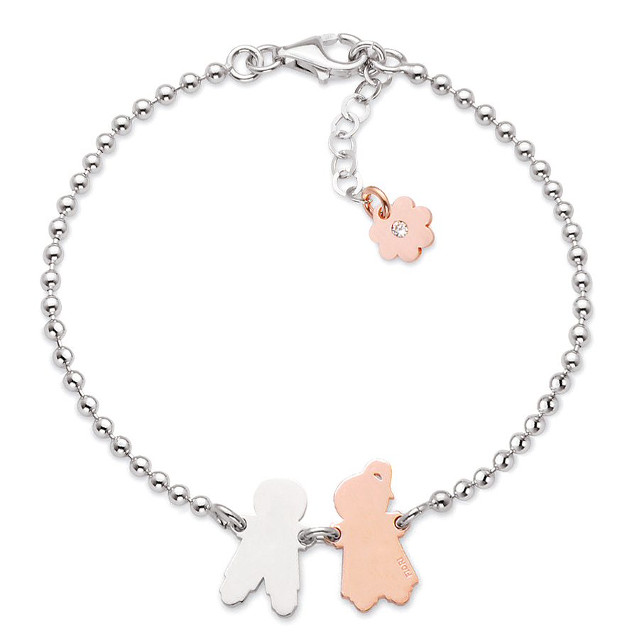 Sterling silver bracelet, rhodium and rose gold plated. (Small Boy+Girl-16mm height)