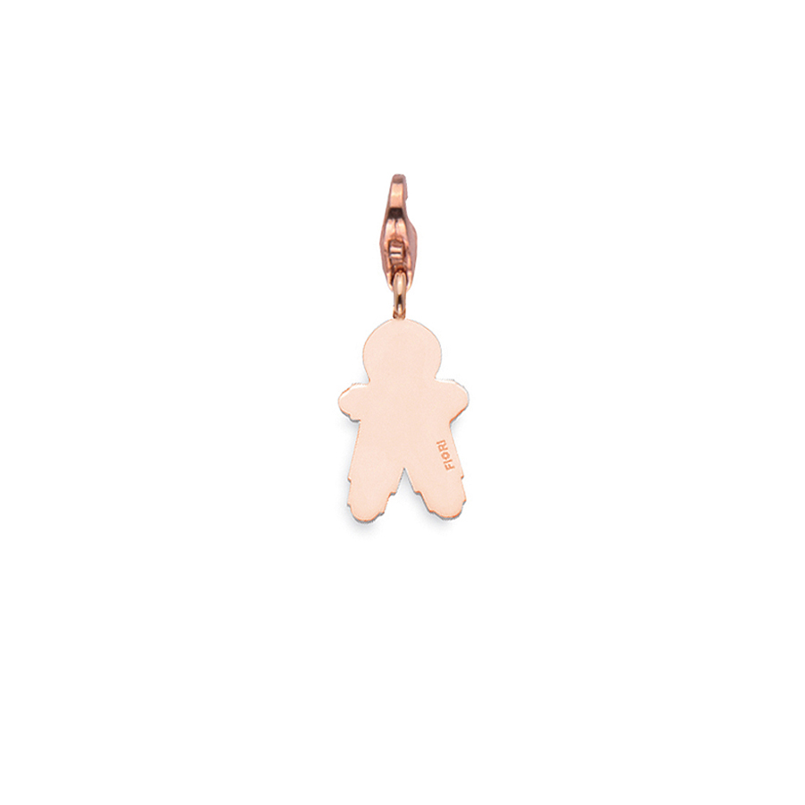 Sterling silver charm, rose gold plated. (Medium Boy-21mm height)