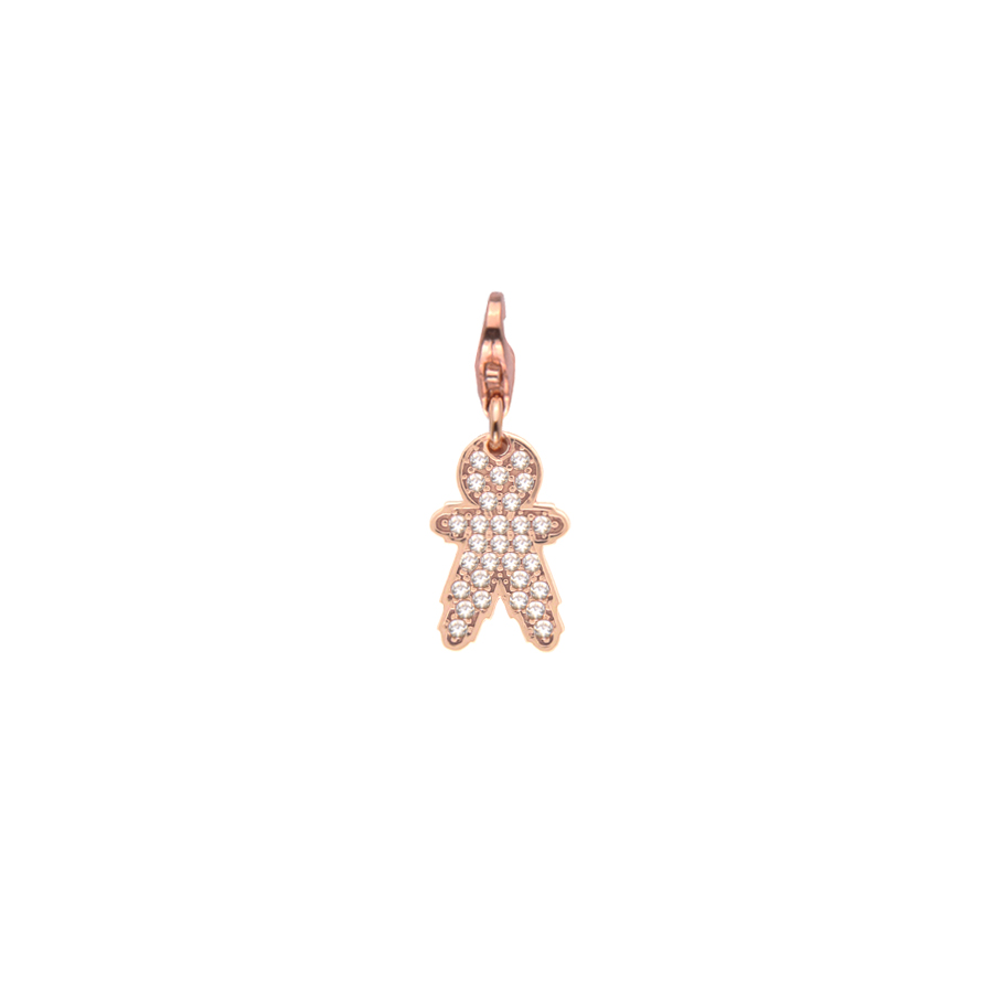 Sterling silver charm set with CZ, rose gold plated. (Small Boy-16mm height)