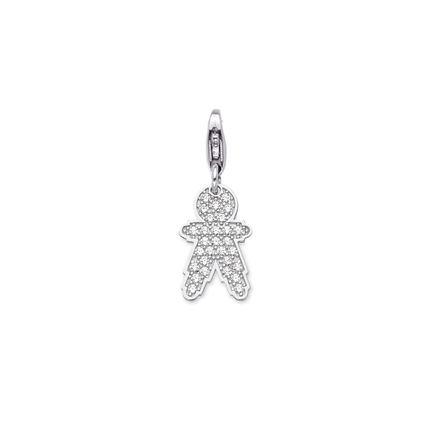 Sterling silver charm set with CZ, rhodium plated. (Medium Boy-21mm height)