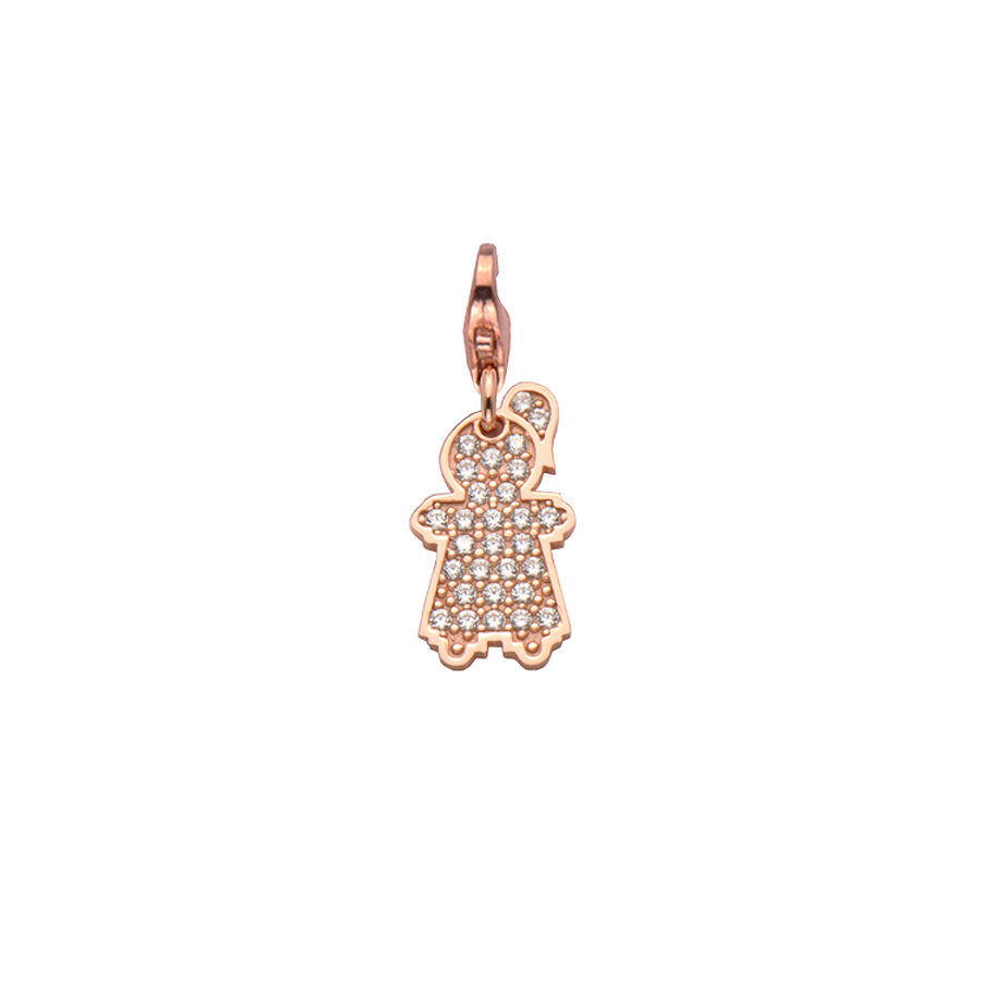 Sterling silver charm set with CZ, rose gold plated. (Medium Girl-21mm height)