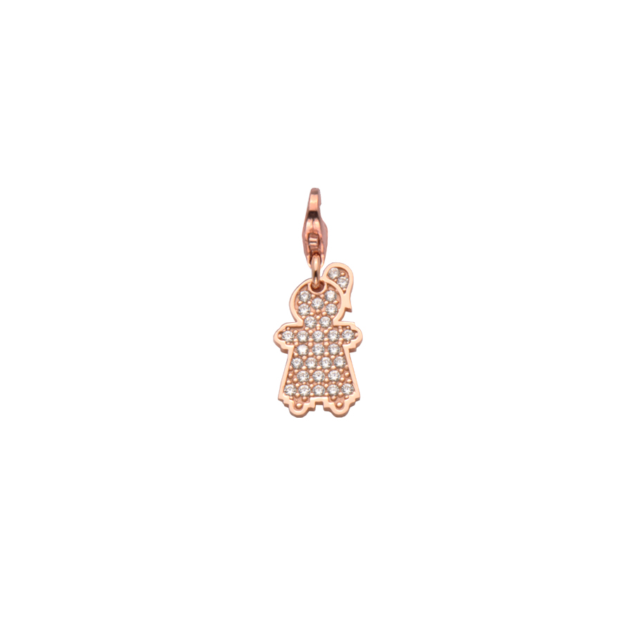 Sterling silver charm set with CZ, rose gold plated. (Small Girl-16mm height)