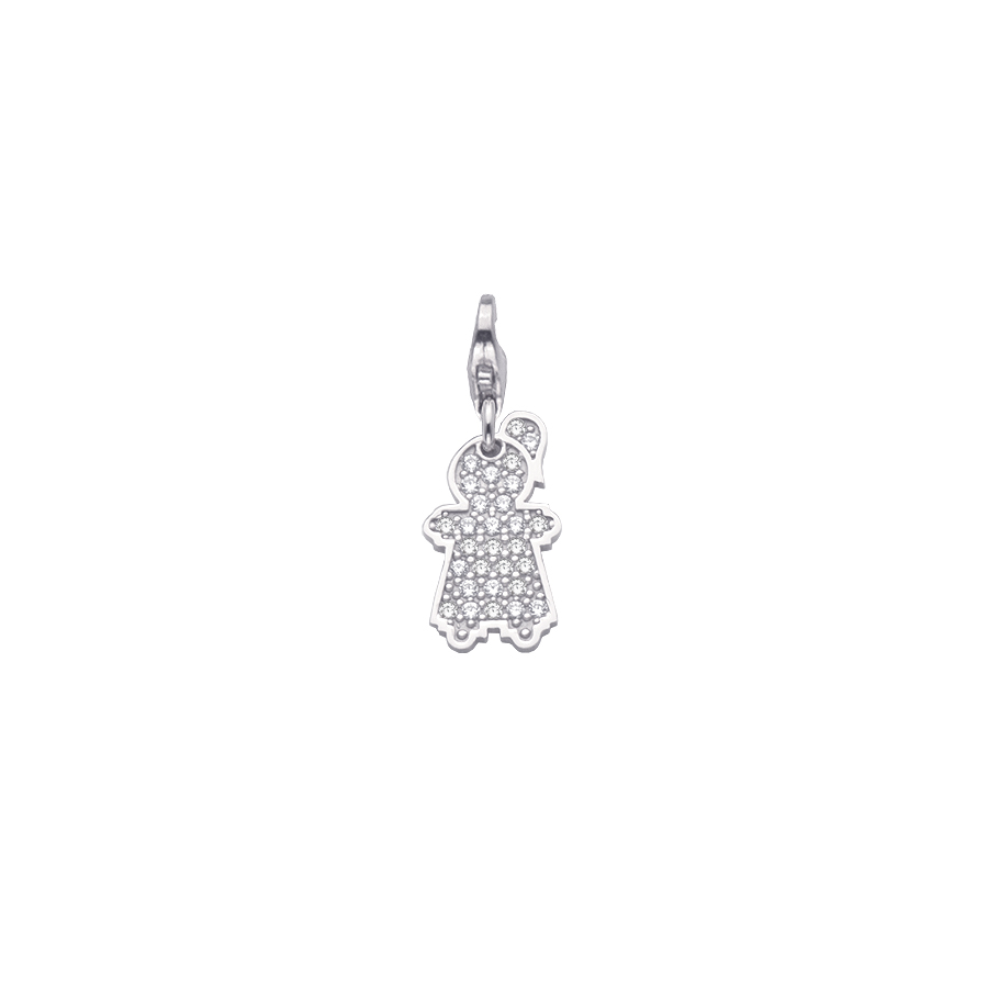 Sterling silver charm set with CZ, rhodium plated. (Small Girl-16mm height)