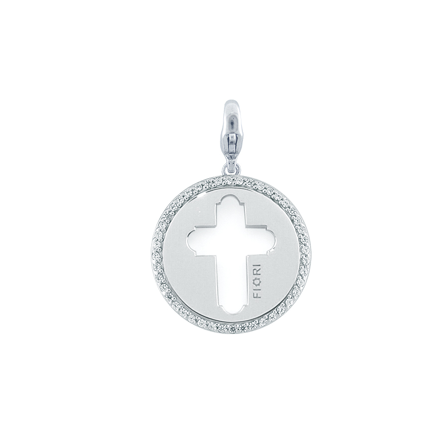 Sterling silver charm set with CZ, rhodium plated.