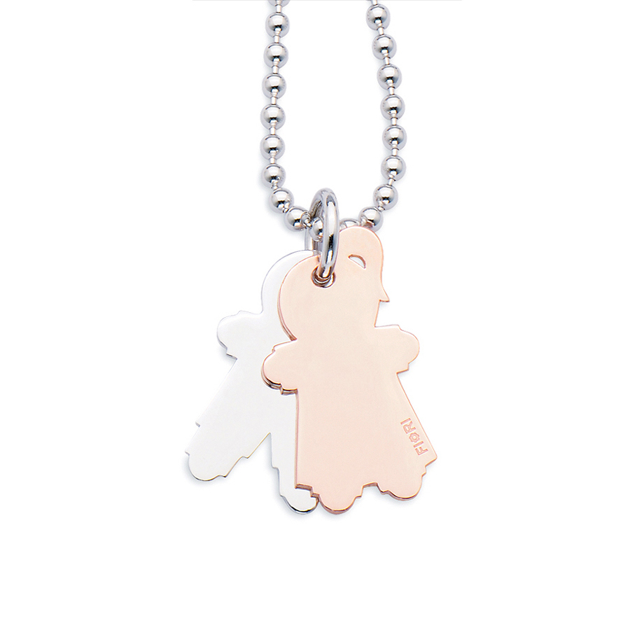 Sterling silver pendant, rhodium and rose gold plated. (Large Girl+Large Boy-26mm height)