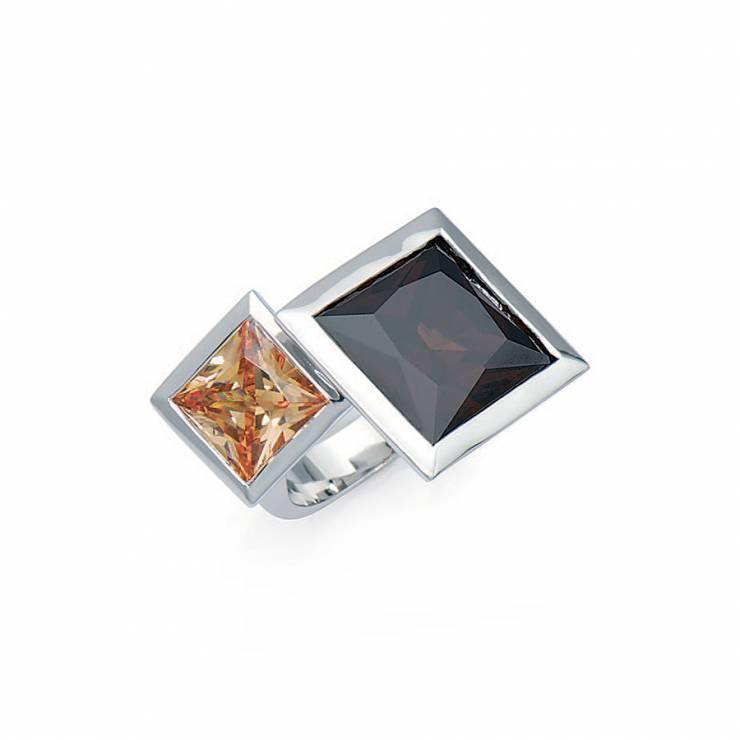 Sterling silver ring with Citrine CZ and Smokey Topaz quartz, rhodium plated.