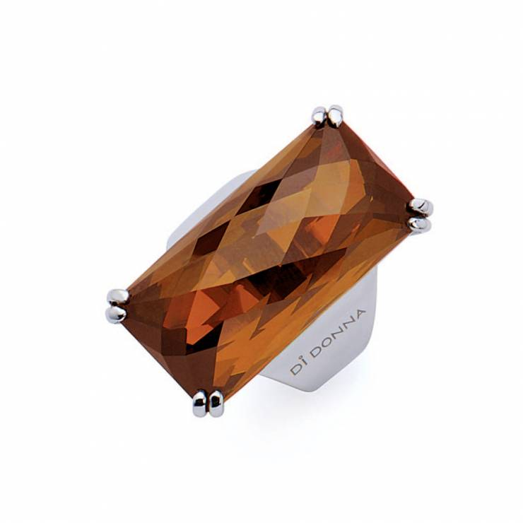 Sterling silver ring with rectangular faceted Citrine quartz, rhodium plated.
