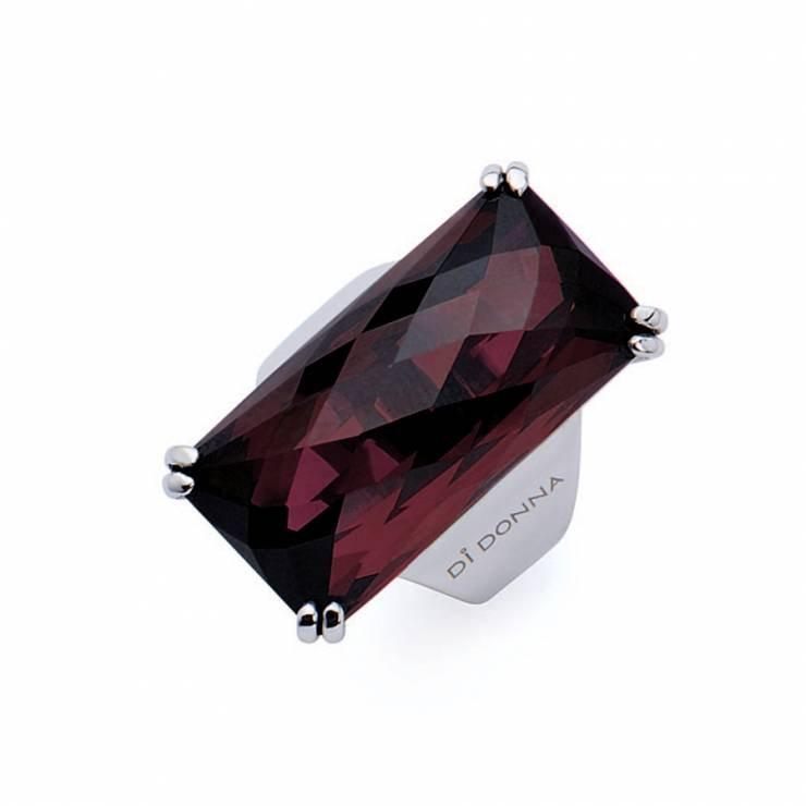 Sterling silver ring with rectangular faceted Rhodolite quartz, rhodium plated.