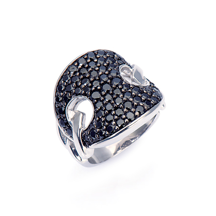 Sterling silver ring set in black CZ, rhodium plated,
