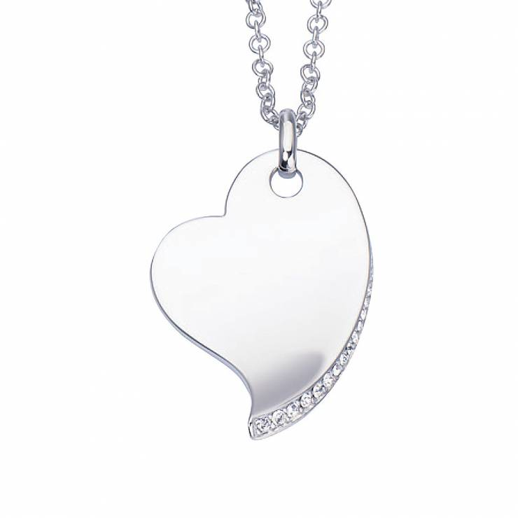 """Sterling silver heart pendant with CZ, rhodium plated. (Chain 18"""" or 45cm)"""