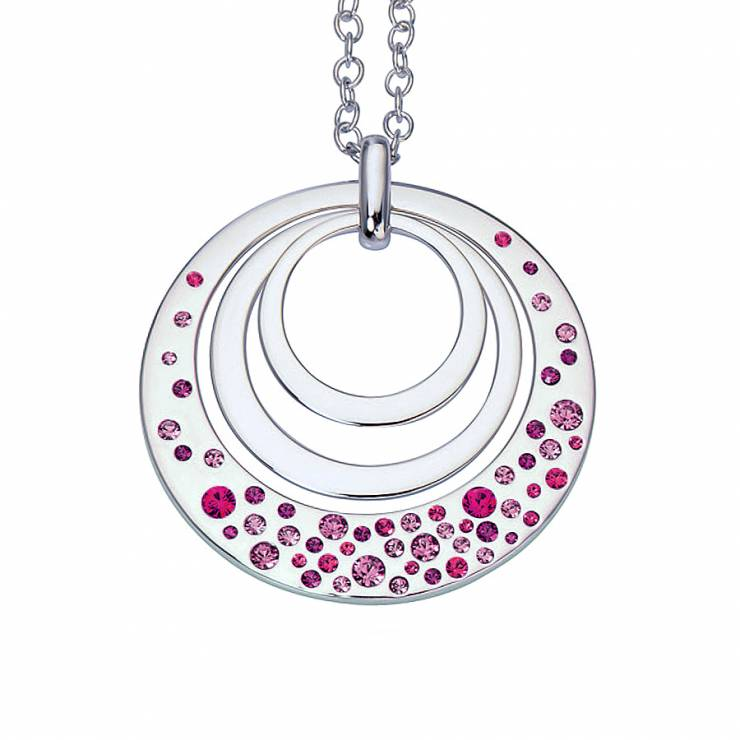 "Sterling silver necklace with Swarovski crystals, rhodium plated. (Chain 18"" or 45cm)"
