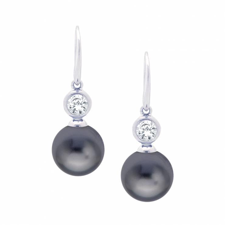 Sterling silver earrings set with CZ and grey shell pearl, rhodium plated.
