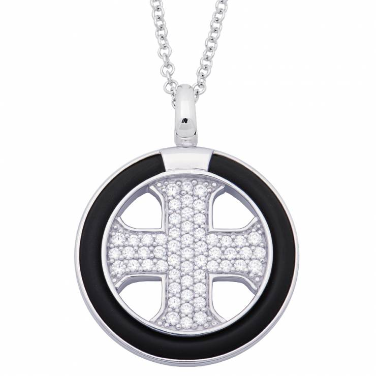 Sterling silver and black rubber necklace set with CZ, rhodium plated.