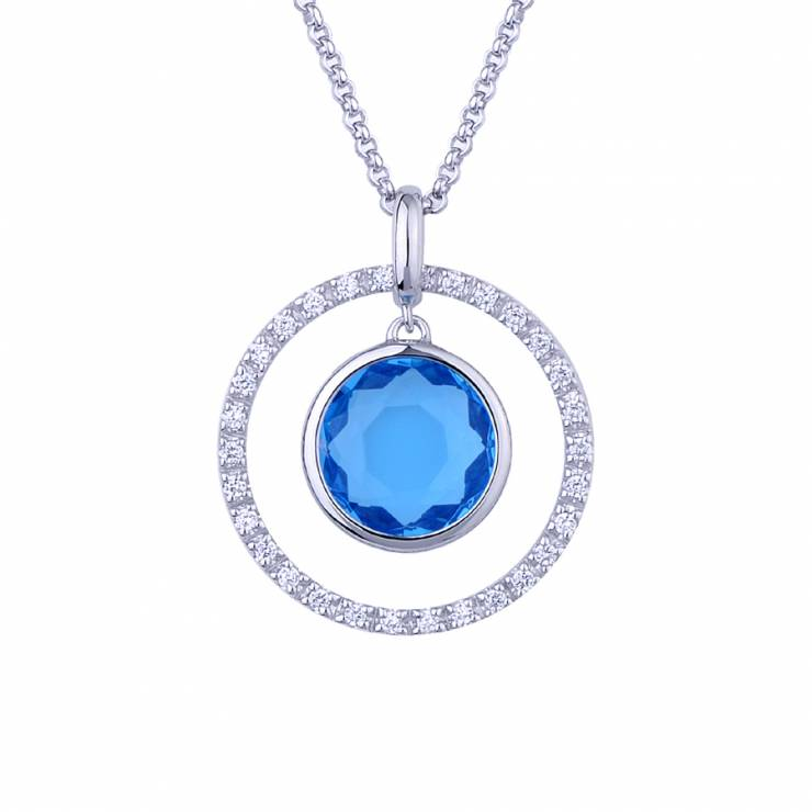 """Sterling silver pendant with CZ and blue quartz, rhodium plated. (Chain 18"""" or 45cm)"""