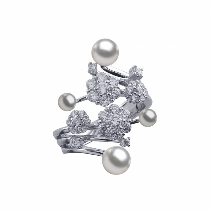 Sterling silver ring set with CZ and shell pearl, rhodium plated.