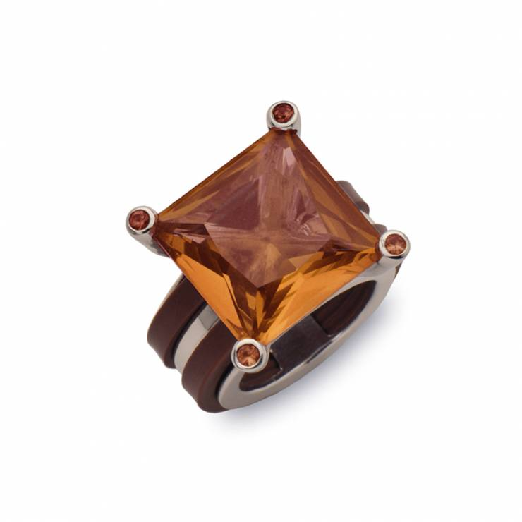 Sterling silver ring with brown rubber and yellow quartz, rhodium plated.
