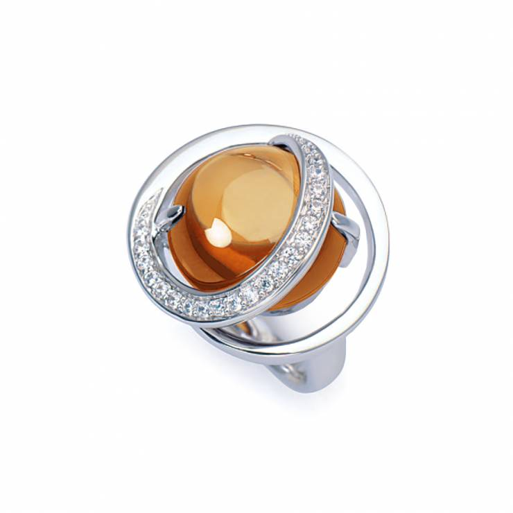 Sterling silver ring with Citrine quartz and CZ, rhodium plated.