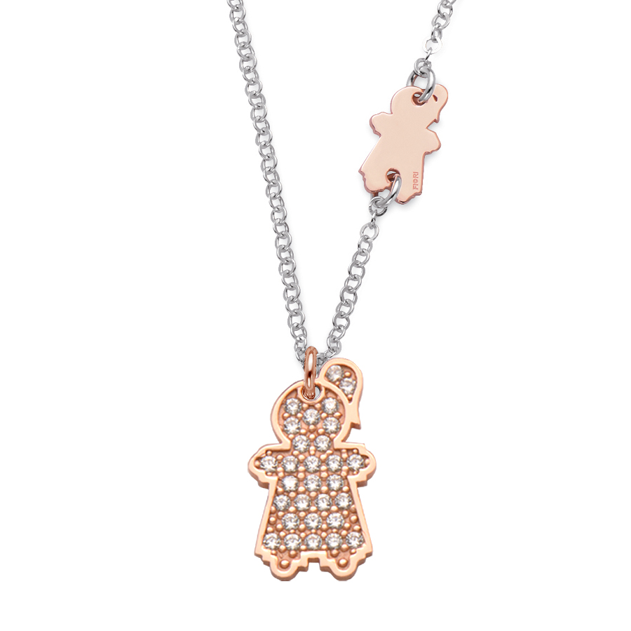 Sterling silver pendant set with CZ, rhodium and rose gold plated. (Medium Girl-21mm height +Small Girl-16mm height)
